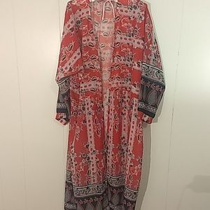 Long Duster, Red Blue with Design